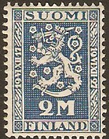 Finland 1927 2m blue Independence Anniversary. SG256.