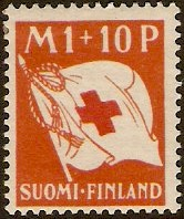 Finland 1930 1m +10p red and orange Red Cross. SG278.