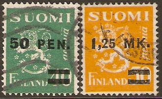 Finland 1931 Surcharged stamps. SG290-SG291.