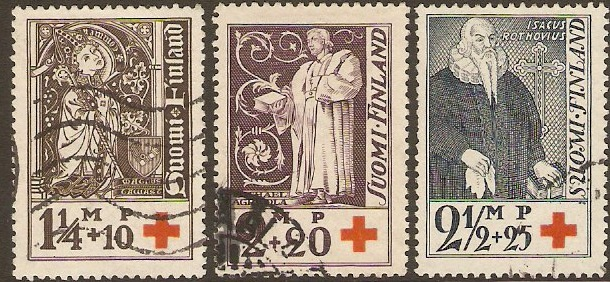 Finland 1933 Red Cross Stamps. SG296-SG298.