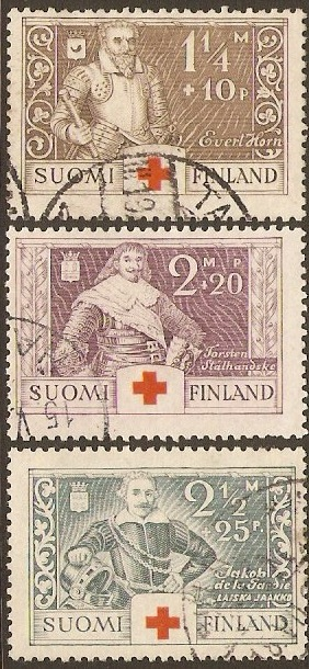 Finland 1934 Red Cross Stamps. SG299-SG301.
