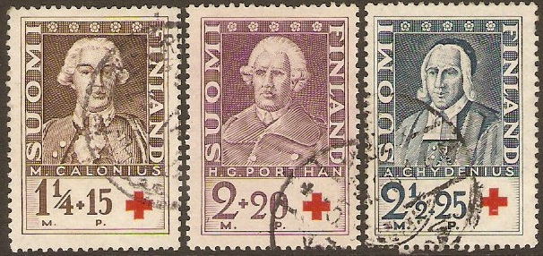 Finland 1935 Red Cross Stamps. SG303-SG305.