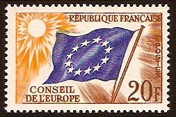 France 1958 20f Flag of Europe. SGC3.