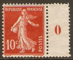 France 1907 10c Red (Type I) Stamp. SG333.
