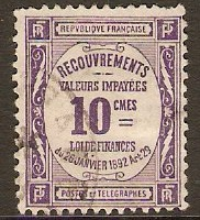 France 1908 10c Violet - Postage Due Stamp. SGD349.