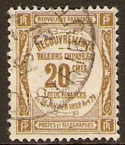 France 1908 20c Bistre - Postage Due Stamp. SGD350.