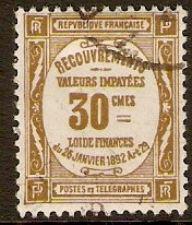 France 1908 30c Bistre - Postage Due Stamp. SGD351.