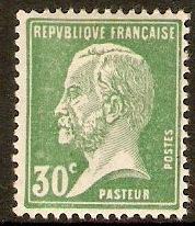 France 1923 30c Green - Pasteur Stamp Series. SG397a.