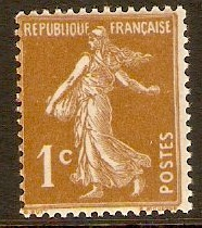 France 1932 1c Yellow-brown. SG497a.