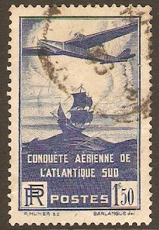 France 1936 1f.50 Blue Flight Anniversary Stamp. SG553.