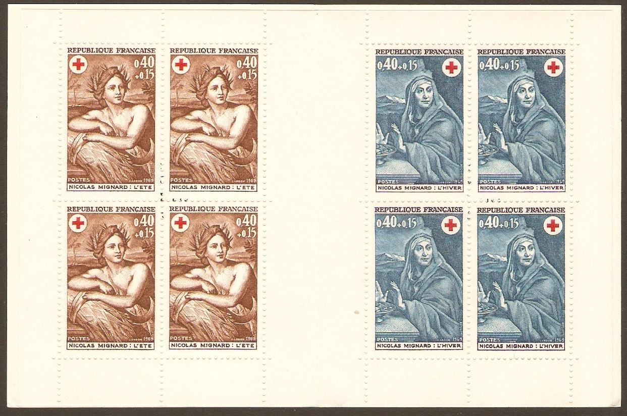 France 1969 Red Cross Stamp Booklet. SGXSB19. Seasons.