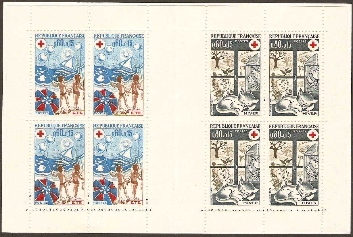 France 1974 Red Cross Stamp Booklet. SGXSB24. Seasons.