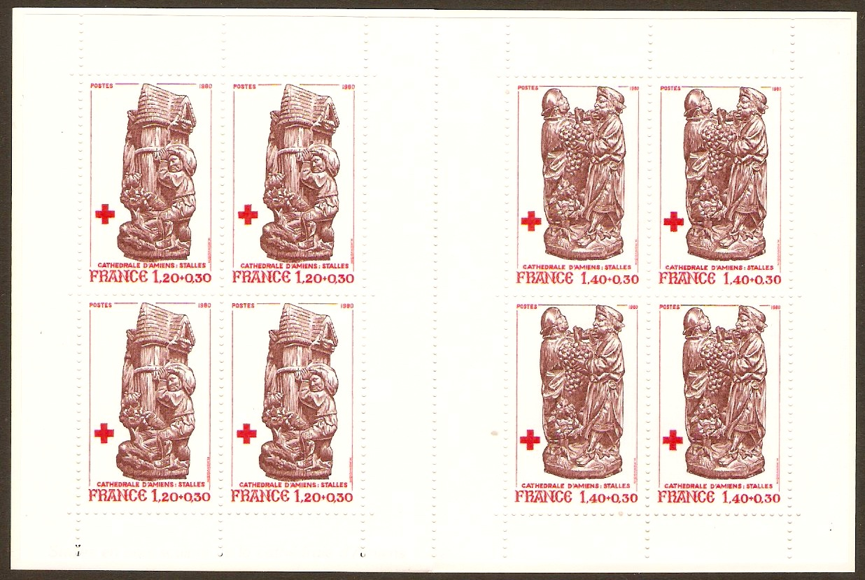 France 1980 Red Cross Stamp Booklet. SGXSB30. Carvings.