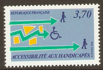 France 1988 3f.70 Handicapped Easy Access. SG2833.