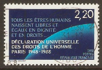 France 1988 2f.20 Human Rights Declaration. SG2856.