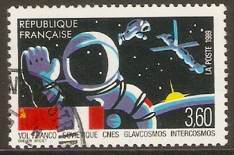 France 1989 3f.60 French Soviet Space Flight. SG2870.
