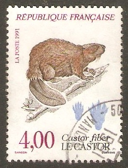 France 1991 4f Eurasian Beaver - Nature Series. SG3041.
