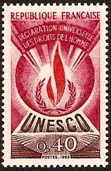 France 1969 40c Human Rights Stamp. SGU10.