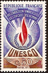 France 1969 50c Human Rights Stamp. SGU11.