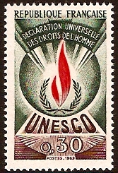 France 1969 30c Human Rights Stamp. SGU9.