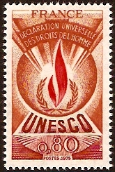 France 1975 80c Human Rights Stamp. SGU14.