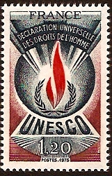 France 1975 1f.20 Human Rights Stamp. SGU15.