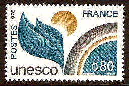 France 1976 80c Leaf Design Stamp. SGU16.