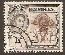 Gambia 1953 1½d Deep brown and grey-black. SG173.