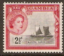 Gambia 1953 2½d Black and carmine-red. SG174.
