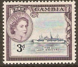 Gambia 1953 3d Deep blue and slate-lilac. SG175.