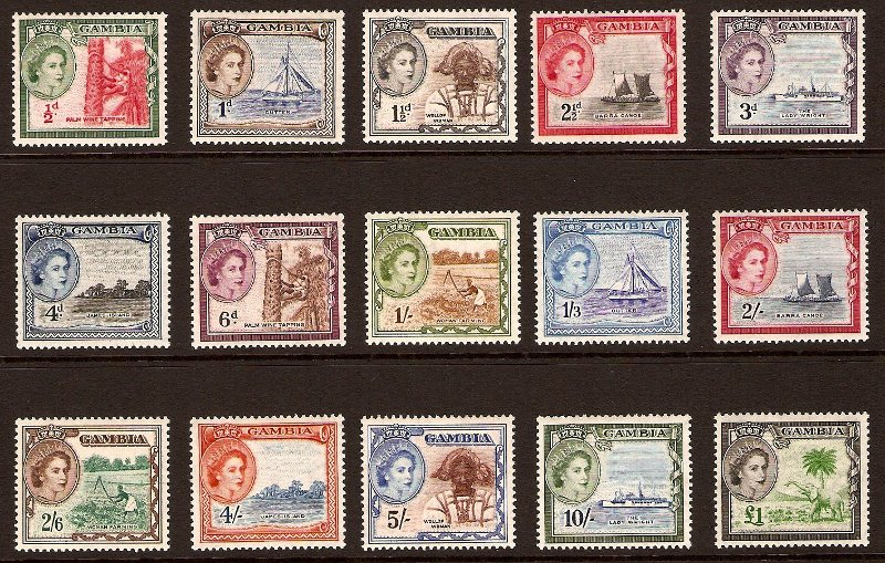 Gambia 1953 QEII Definitive Stamps. SG171-SG185.