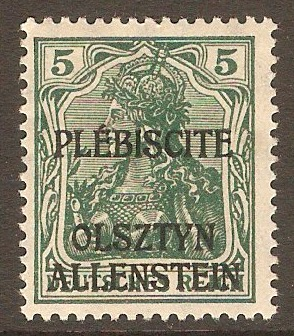 Allenstein 1920 5pf Green. SG1.