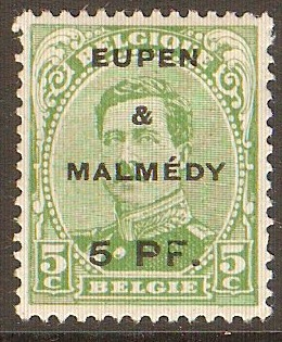 Belgian Occupation 1920 5pf on 5c Green. SG18.