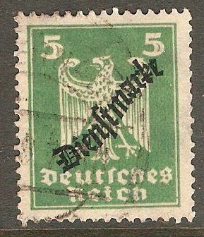 Germany 1924 5f Green - Official stamp. SGO377.