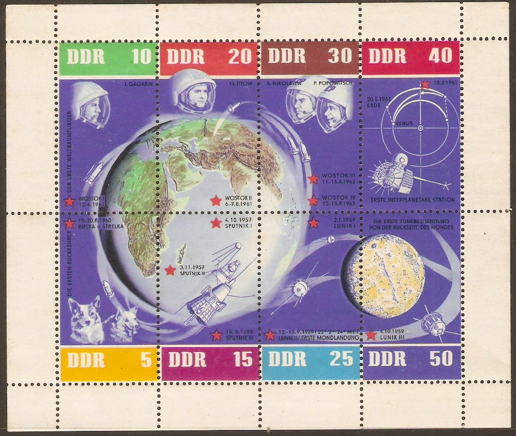 East Germany 1962 Russian Space Flights sheet. SGMSE663a.