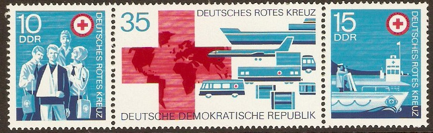 East Germany 1972 Red Cross Stamps Strip. SGE1507a.