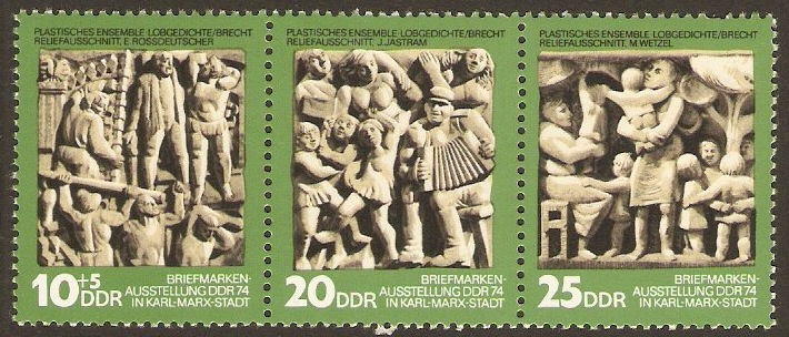 East Germany 1974 Sculptures Strip. SGE1704a.