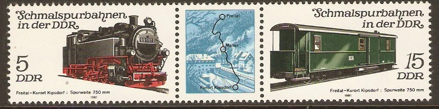 East Germany 1981 Narrow-gauge Railways Strip. SGE2342a.