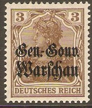 GOI-Poland 1916 3pf Brown. SG7.