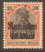 GOI-Romania 1918 40b on 30pf Black and orange on buff. SG12.