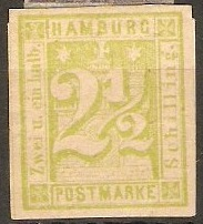 Hamburg 1864 2½s Yellow-green. SG27.