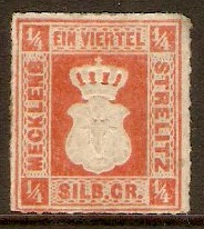 Mecklenburg Strelitz 1864 ¼sgr Orange-red. SG2.