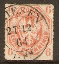 Prussia 1861 6pf Orange. SG28.