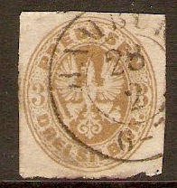 Prussia 1861 3sgr Bistre-yellow. SG36.