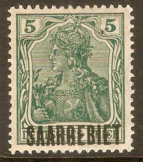 Saar 1920 5pf Green. SG32. - Click Image to Close