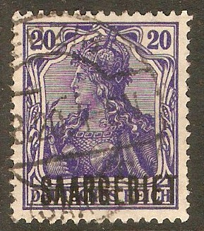 Saar 1920 20pf Violet-blue. SG37. - Click Image to Close