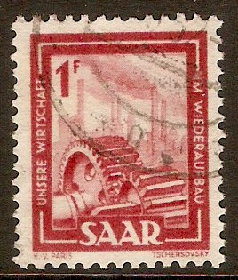 Saar 1949 1f Brown-red. SG266.