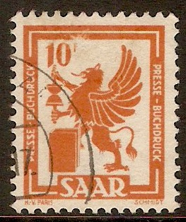 Saar 1949 10f Brown-orange. SG271.