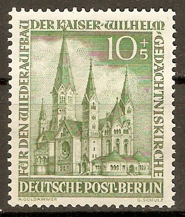 West Berlin 1953 10pf +5pf Green. SGB107.