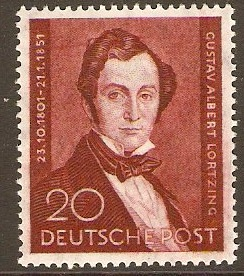 West Berlin 1951 20pf Lortzing Commemoration Stamp. SGB74.